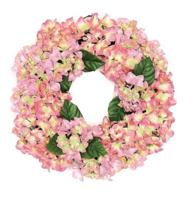 "22"" Decorative Pink and Green Artificial Floral Hydrangea Wreath - Unlit"""