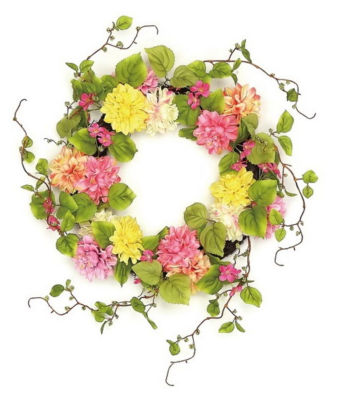 """22"""" Decorative Pink and Yellow Mum and Wild Blossom Artificial Floral Wreath - Unlit"""""""