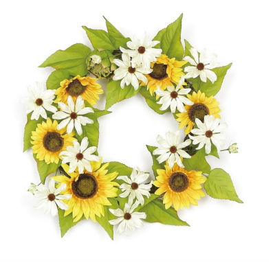 "22"" Decorative Yellow Sunflower and Cream White Daisy Artificial Floral Wreath - Unlit"""