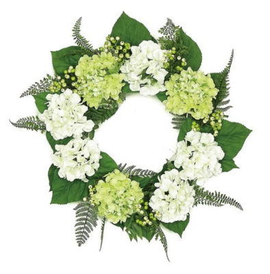 """24"""" Decorative Cream White and Green Hydrangea and Berry Artificial Floral Wreath - Unlit"""""""