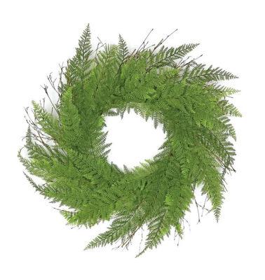 "24"" Decorative Green Artificial Narrow Fern Wreath- Unlit"