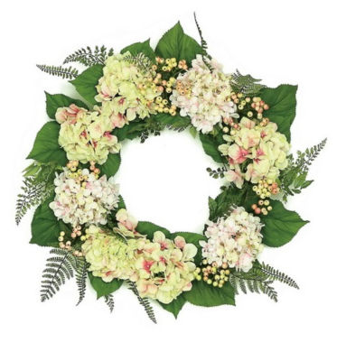 """24"""" Decorative Pink  Cream and Green Hydrangea and Berry Artificial Floral Wreath - Unlit"""""""