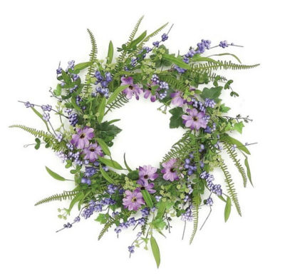 """24"""" Decorative Purple and Green Daisy and Mixed Berry Artificial Floral Wreath - Unlit"""""""