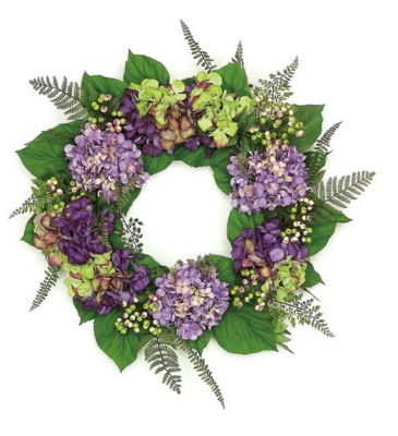"""24"""" Decorative Purple and Green Hydrangea and Berry Artificial Floral Wreath - Unlit"""""""