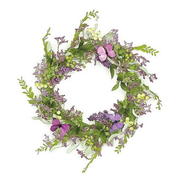 "24"" Decorative Purple and Green Mixed Berry and Butterfly Artificial Floral Wreath - Unlit"""