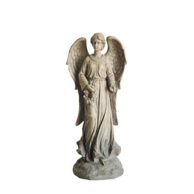 """26"""" Distressed Finish Angel with Floral Wreath Outdoor Garden Figure"""""""