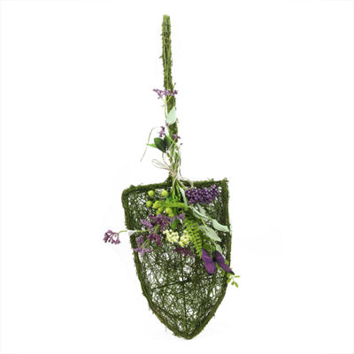 "29"" Decorative Purple and Green Mixed Berry and Butterfly Artificial Floral Shovel Accent"