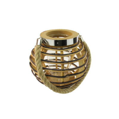 """7.5"""" Rustic Chic Round Rattan Decorative Candle Holder Lantern with Jute Handle"""""""