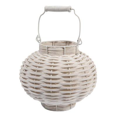 "11.5"" Beach Day Weathered White Woven Wood VotiveCandle Lantern"""