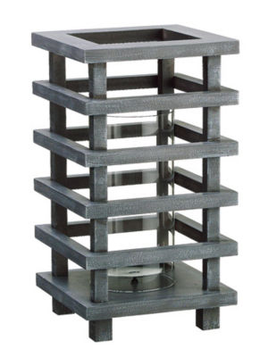 "13"" Gray Brushed Wooden Pagoda Tower Pillar Candle Holder"""