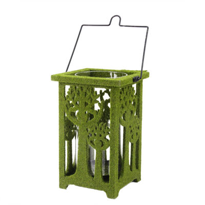 "13.75"" Green Moss Covered Tree Cut-Out Pillar Candle Lantern"""