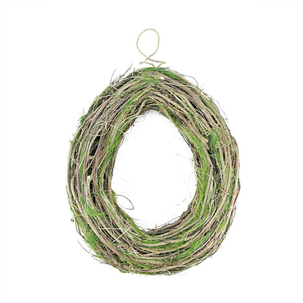 "15.5"" Brown Grapevine  Twig and Green Moss Egg-Shaped Artificial Spring Wreath"""