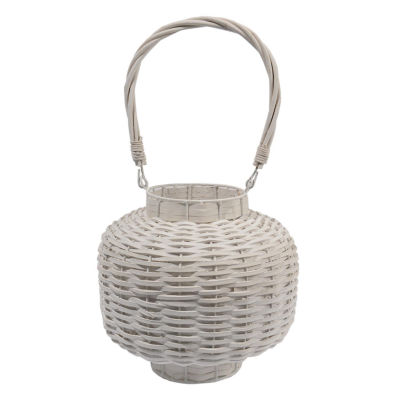 "17.5"" Beach Day Weathered White Woven Wood Pillar Candle Lantern"""