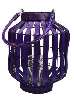 "20"" Tropicalia Deep Purple Cabana Tiki Bar Votive Candle Holder Lantern"""