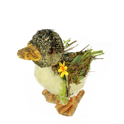 """4.25"""" Brown  Ivory  and Orange Standing Duck Spring Table Top Decoration"""""""