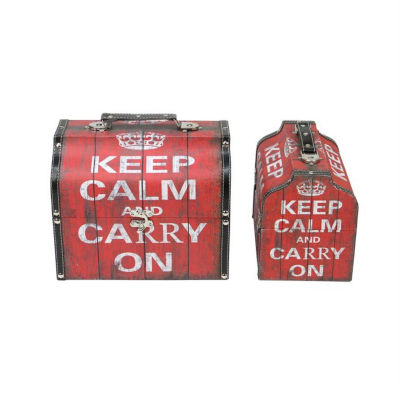 Set of 2 Red and White Keep Calm and Carry On Decorative Wooden Storage Boxes 10.25-11.75""