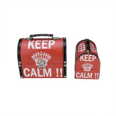"""Set of 2 Red and White Keep Calm!! Decorative Wooden Storage Boxes 7.25-8.75"""""""