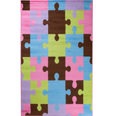 Concord Global Trading Alisa Collection Jigsaw Puzzle Rug