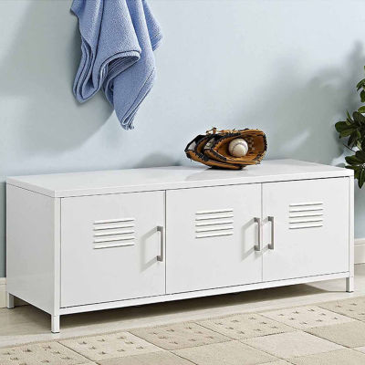 "48"" Metal Locker Style Storage Bench"