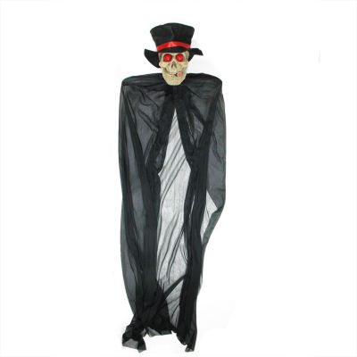 """55"""" Black and Red Lighted Skull Reaper with Cigar Hanging Halloween Decoration"""