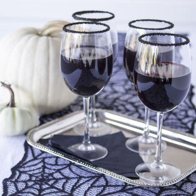 Cathy'S Concepts Set Of 4 Personalized Spooky 19-Oz. White Wine Glasses