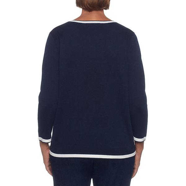 Alfred Dunner Montego Bay 3/4 Sleeve Crew Neck Layered Sweaters
