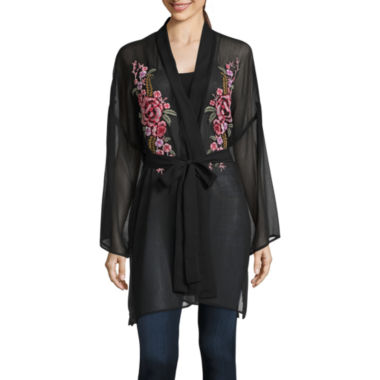 Belle + Sky 3/4 Sleeve Embroidered Kimono