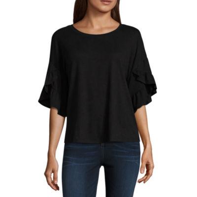 Belle + Sky Elbow Sleeve Round Neck T-Shirt-Womens