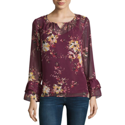 Alyx Long Sleeve Round Neck Woven Floral Blouse