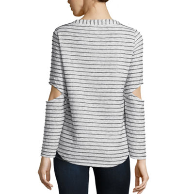 Libby Edelman Long Sleeve Lurex Stripe Tee