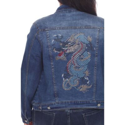 White Mark Denim Jacket-Plus