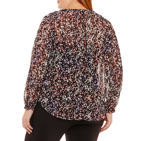 Liz Claiborne Long Sleeve Peasant Top- Plus