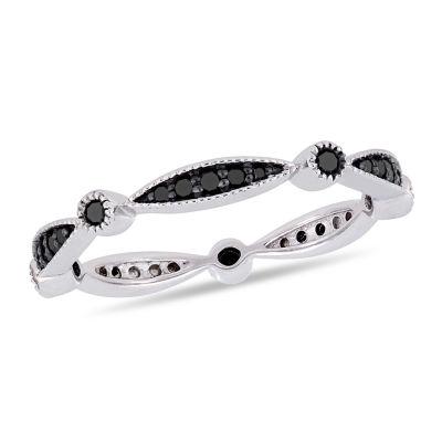 Womens 2.5MM 1/4 CT. T.W. Genuine Black Diamond 10K White Gold Eternity Band