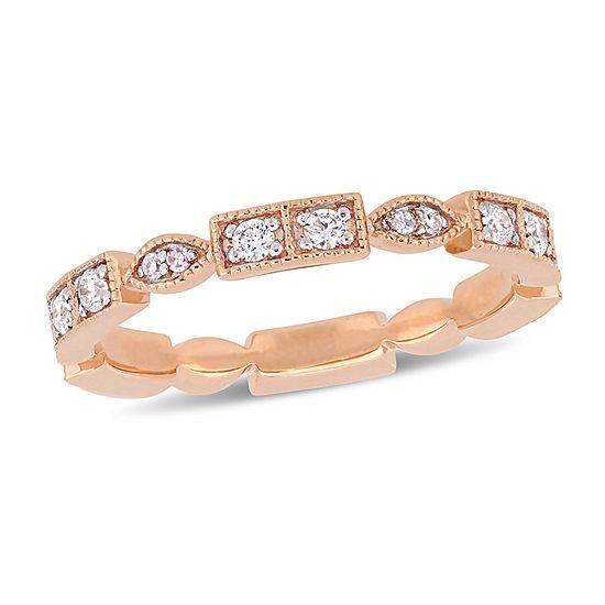 Womens 2.5mm 1/3 CT. T.W. Genuine White Diamond 10K Rose Gold Anniversary Band