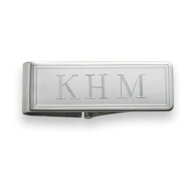 Personalized Border Detail Hinged Money Clip