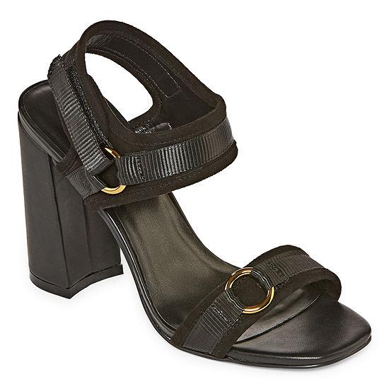 Nicole By Nicole Miller Womens Blankslate Open Toe Block Heel Pumps