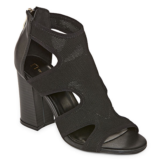 Nicole By Nicole Miller Womens Beststretch Zip Closed Toe Block Heel Pumps