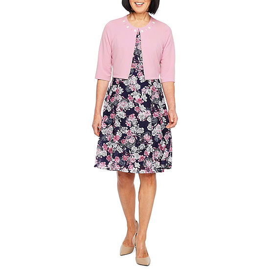 Perceptions 3/4 Sleeve Jacket Dress-Petite