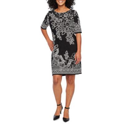 R & K Originals Short Sleeve Pattern Shift Dress-Petite