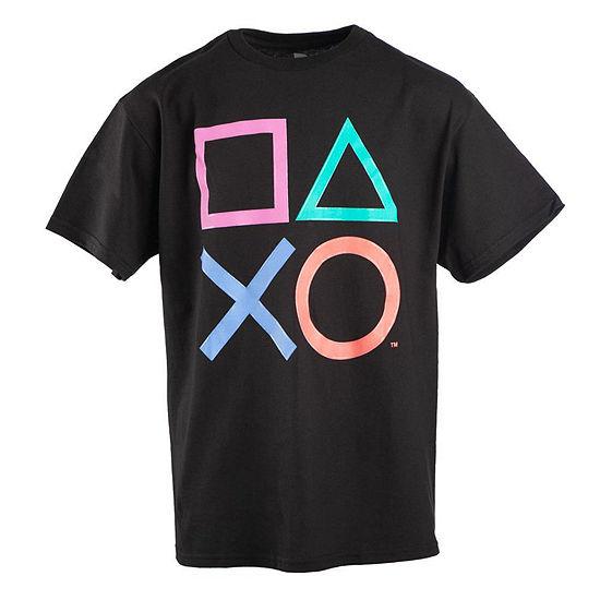 Playstation Boys Crew Neck Short Sleeve Graphic T Shirt Preschool Big Kid