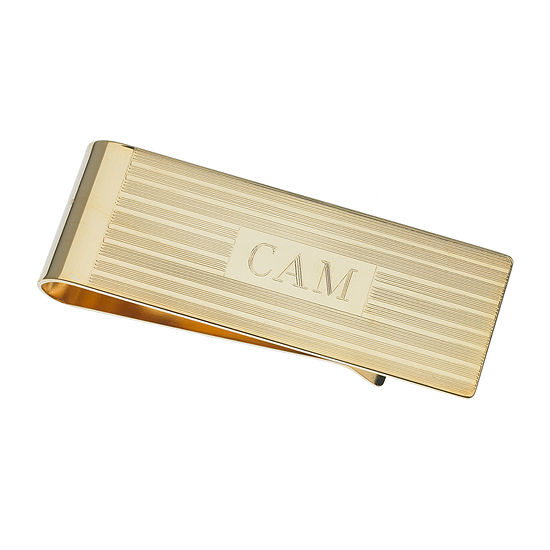 Personalized Gold-Plated Engraved Lines Money Clip