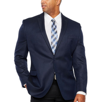 Collection by Michael Strahan Blue Herringbone Classic Fit Sport Coat - Big and Tall