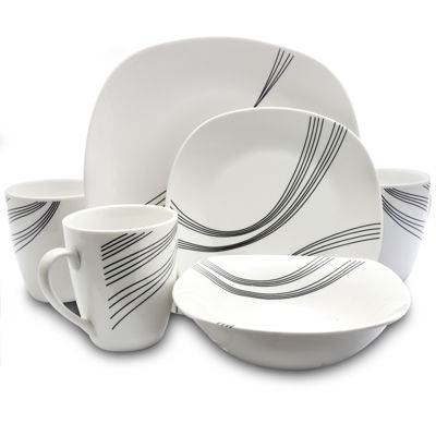 Gibson Curvation 16 Piece Soft Square Dinnerware Set In White