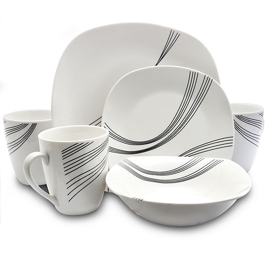 Gibson Curvation 16-pc. Soft Square Dinnerware Set