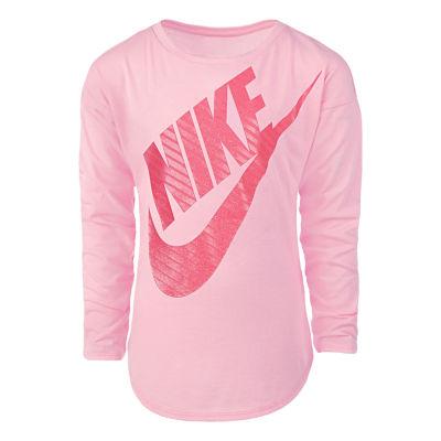 Nike Girls Round Neck Long Sleeve Graphic T-Shirt-Preschool