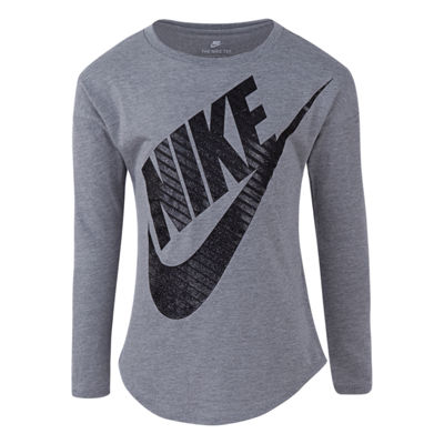 Nike Girls Round Neck Long Sleeve Graphic T-Shirt-Preschool