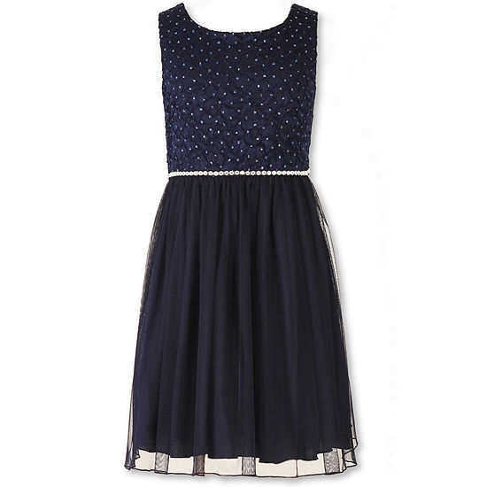 2289bad8c5e5 Speechless Sleeveless Navy Sparkle Lace to Mesh Ballerina Dress Girls 7 16  and Plus JCPenney