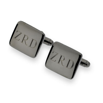 Personalized Gunmetal Rounded Rectangle Cuff Links