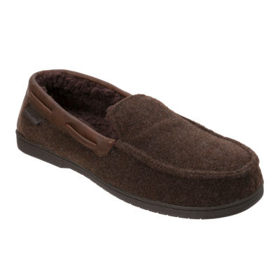 Dearfoams Mixed Material Moccasin Slippers - Wide