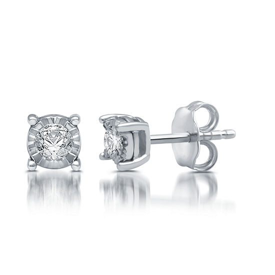 1/5 CT. T.W. Genuine White Diamond Sterling Silver 5.7mm Stud Earrings